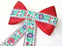 Ozdoby do vlasov - Folklórna spona do vlasov (červeno-biela) - 7990143_
