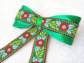 Ozdoby do vlasov - Back to folklore hair clip (green) - 7990206_