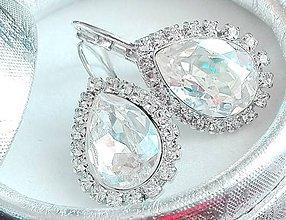 Náušnice - Náušnice so SWAROVSKI krištálom Rhodium štras Hruška CRYSTAL MOONLIGHT F v darčekovej krabičke - 7990830_
