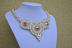 Soutache náhrdelník Pearly Ivory Love !SUPER CENA!