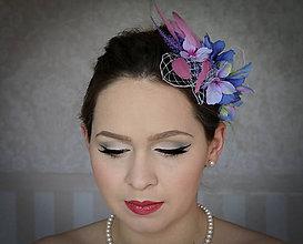 Ozdoby do vlasov - Fialovo-ružový fascinátor - 7992326_