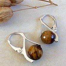 Náušnice - Strieborné náušnice s minerálmi Tigrie oko - 7993198_