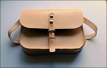 Kabelky - Ručne šitá kožená kabelka/ aktovka crossbody prírodná ,, Tenebra\