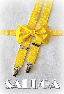 Detské doplnky - Detský žltý bodkovaný motýlik a traky - 7991344_
