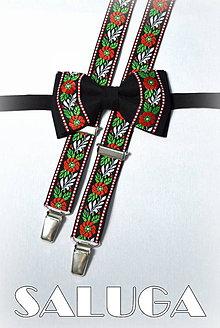 Detské doplnky - Folklórny detský čierny motýlik a traky - folkový - ľudový - 7991350_