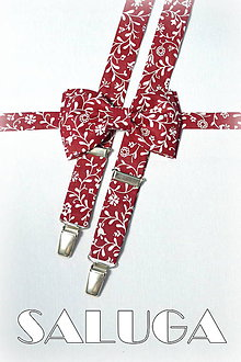 Doplnky - Pánsky bordový - vínový motýlik + traky - vzorovaný - 7991431_