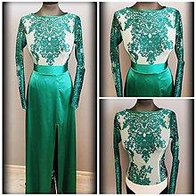 Šaty - Zelené spoločenské šaty z vyšívaného tylu a saténa - 7992164_