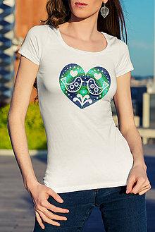 Tričká - Dámske biele tričko s potlačou - veľkosť L - 7989110_
