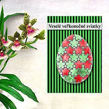 Papiernictvo - Geometrické veľkonočné vajíčko - fľaky a kvetinky - 7990790_