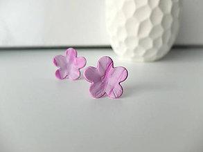 Náušnice - Kvietky ružovo biele stredné - 7994029_