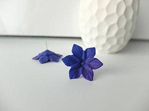 Náušnice - Kvety fialovo modré - 7994071_