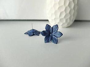 Náušnice - Kvety modro šedé - 7994076_