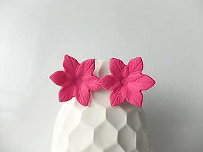 Náušnice - Kvety ružové - francúzske zapínanie - 7994090_