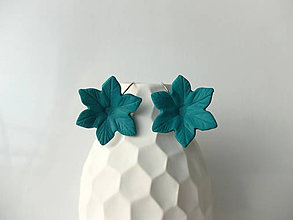 Náušnice - Kvety zelené - francúzske zapínanie - 7994094_