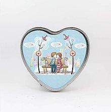 Krabičky - Plechová krabička v tvare srdca, Love 5 - 7995869_