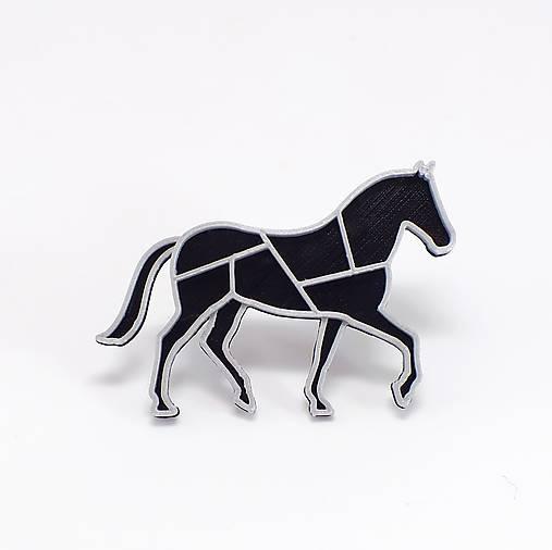 Odznaky/Brošne - Koník black/silver - 7993971_