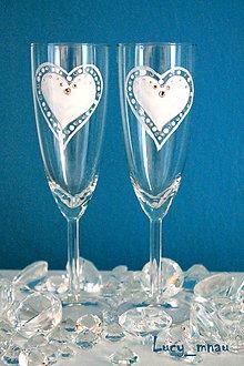 Darčeky pre svadobčanov - Svadobné poháre ♥srdiečkové♥ - 7996055_