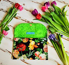 Kabelky - Listová kabelka-kvety s retiazkou cez plece - 7995921_