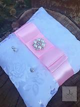 Prstene - Svadobný vankúšik Pink dvojitá mašlička - 7994826_