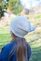 Detské čiapky - Prechodná homelles ... šedá s modrým brmbolcom na šnúrke - 7999494_