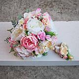 Kytice pre nevestu - Svadobná kytica z pivoniek a ružičiek - 7999971_