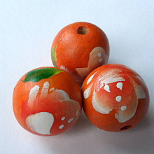 Korálky - Drevené 18mm-1ks (oranžová) - 7997838_