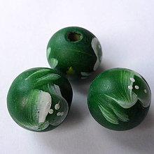 Korálky - Drevené korálky 18mm-1ks (zelená) - 7997864_