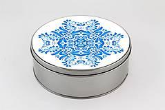 Krabičky - Plechová krabička okrúhla modrý folk vzor 01 - 8000404_