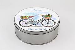 Krabičky - Plechová krabička okrúhla bike 01 - 8000408_