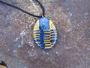 Náhrdelníky - Prívesok v modrozlatej farbe - 7997939_