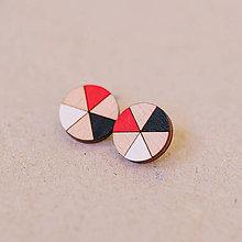 Náušnice - kruhy čierno červené - napichovačky - 7999187_