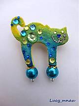 Odznaky/Brošne - Brošnička mačička dúhovo-zeleno-modrá :) - 7997498_