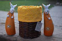 Dekorácie - košík okrúhly  oranžové futro - 7999354_