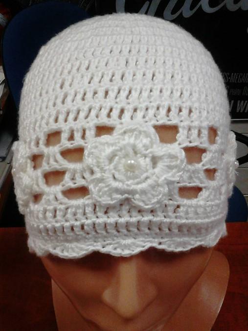 35224e39d Biela háčkovaná čiapka / danka01 - SAShE.sk - Handmade Detské čiapky