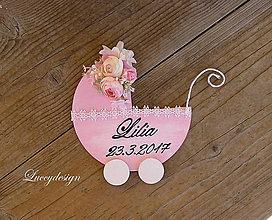 Dekorácie - baby kočík..s menom - 7997273_