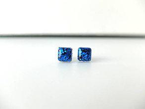 Náušnice - Živicové náušnice kocky modré - 8000943_