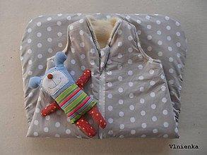 Textil - Spací vak celoročný 100% Merino Top bodkovaný - 8001013_
