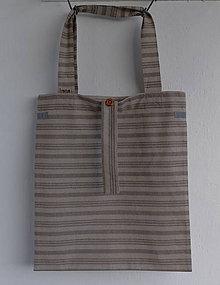 Nákupné tašky - Eko nakupovačka FILKI skladacia (béžovo-hnedý prúžok) - 8000581_