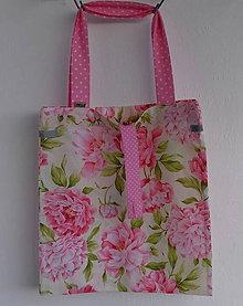 Nákupné tašky - Eko nakupovačka FILKI skladacia (pivónie a ružová) - 8000586_