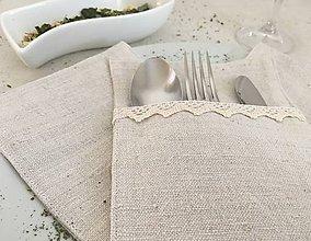 Úžitkový textil - Obal na príbor z ručne tkaného ľanu. - 8003147_