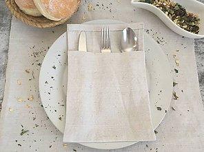 Úžitkový textil - Delené obaly na príbor z ručne tkaného ľanu - 8003235_