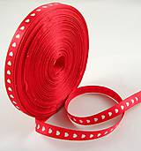 - Stuha so srdiečkom 10 mm - červená - 8001092_