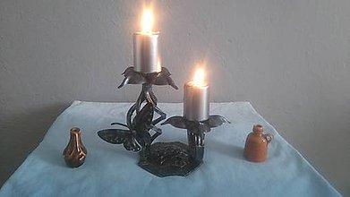Svietidlá a sviečky - kovový svietnik (patina) - 8004605_