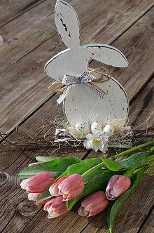 Dekorácie - Veľkonočný shabby zajac - 8004267_