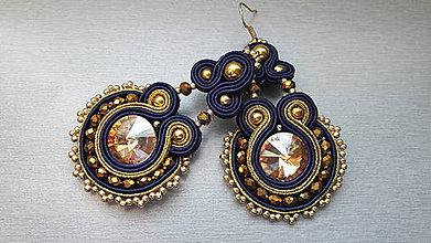 Náušnice - na ľudovú nôtu - štebotavé šujtášové náušnice (modro-zlaté) - 8004654_