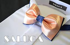 - Pánsky lososový motýlik s modrým - modrý - 8005129_