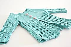 Detské oblečenie - Pletený svetrík pre bábätko - tyrkysový (62 - Tyrkysová) - 8003591_