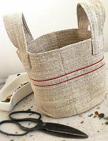 Košíky - Servírovací košík z ručne tkaného ľanu - 8003908_