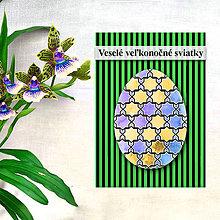 Papiernictvo - Geometrické veľkonočné vajíčko - fľaky a hviezdičky - 8004116_