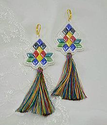 Náušnice - Náušnice z keramických kabošonov a hodvábnych strapcov - 8005122_